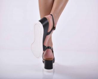 Дамски сандали на платформа естествена кожа черни EOBUVKIBG