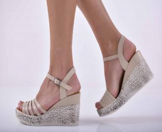 Дамски сандали на платформа естествена кожа бежови EOBUVKIBG