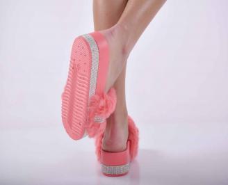 Дамски чехли на платформа пудра EOBUVKIBG 3