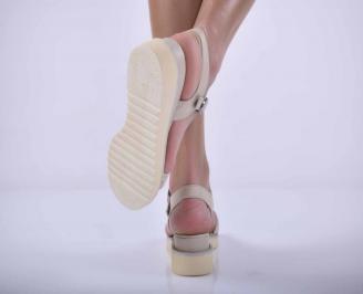 Дамски равни сандали естествена кожа бежови EOBUVKIBG 3