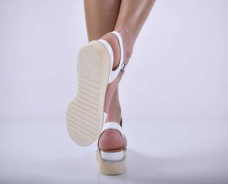 Дамски равни сандали естествена кожа бели EOBUVKIBG 3