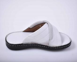Мъжки чехли естествена кожа бели 3