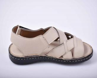 Мъжки сандали естествена кожа бежови