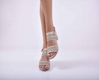 Дамски елегантни сандали бежови EOBUVKIBG