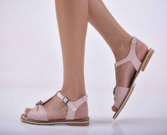 Дамски равни сандали естествена кожа пудра EOBUVKIBG