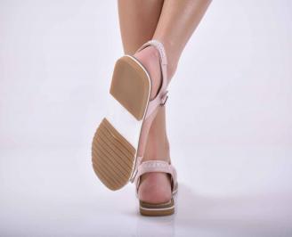 Дамски равни сандали естествена кожа пудра EOBUVKIBG 3