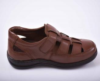 Мъжки сандали естествена кожа кафяви