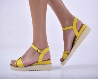 Дамски равни сандали естествена кожа жълти EOBUVKIBG