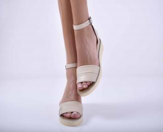 Дамски равни сандали естествена кожа бежови EOBUVKIBG