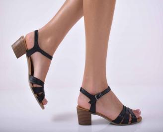 Дамски елегантни сандали естествена кожа черни EOBUVKIBG
