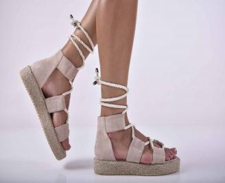 Дамски равни сандали бежови EOBUVKIBG