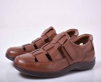 Мъжки сандали-Гигант естествена кожа кафяви