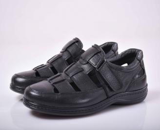 Мъжки сандали-Гигант естествена кожа черни