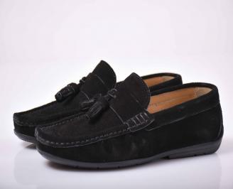 Мъжки спортно елегантни обувки  естествен велур черни