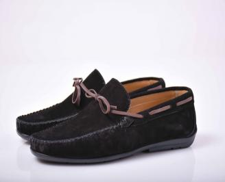 Мъжки спортно елегантни обувки  естествена велур черни