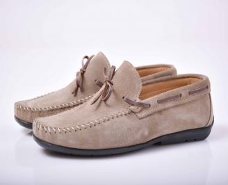 Мъжки спортно елегантни обувки  естествен велур бежови