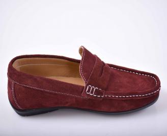 Мъжки спортно елегантни обувки  естествен велур бордо