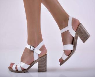 Дамски елегантни сандали естествена кожа бели EOBUVKIBG