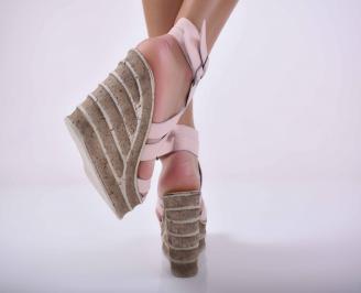 Дамски сандали на платформа естествена кожа пудра EOBUVKIBG 3
