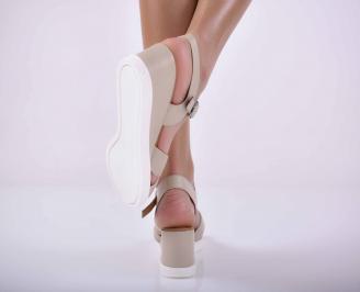 Дамски сандали на платформа естествена кожа бежови EOBUVKIBG 3