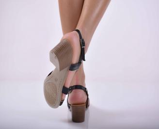 Дамски елеганти сандали естествена кожа черни EOBUVKIBG