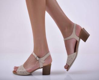 Дамски елегантни сандали естествена кожа бежови EOBUVKIBG
