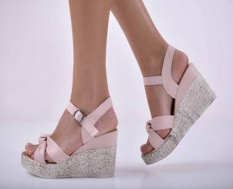 Дамски сандали на платформа естествена кожа пудра EOBUVKIBG