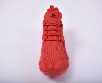 Мъжки маратонки текстил червени EOBUVKIBG