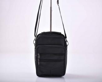 Мъжка чанта естествена кожа черна  EOBUVKIBG