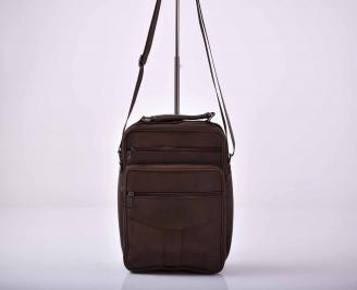 Мъжка чанта естествена кожа кафява  EOBUVKIBG