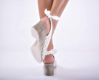 Дамски сандали елегантни естествена кожа бели EOBUVKIBG