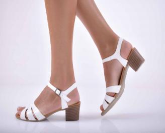 Дамски сандали елеганти  естествена кожа бели EOBUVKIBG