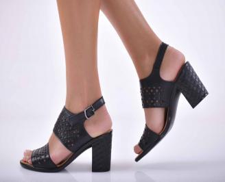 Дамски сандали елегантни  естествена кожа черни EOBUVKIBG