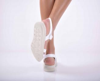 Дамски сандали  равни естествена кожа бели EOBUVKIBG