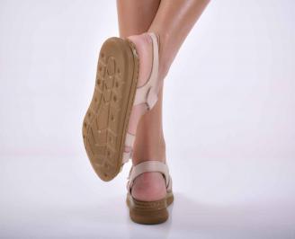 Дамски сандали  равни естествена кожа бежови EOBUVKIBG