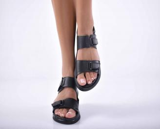 Дамски сандали  равни естествена кожа черни EOBUVKIBG