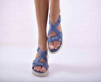 Дамски сандали  равни естествена кожа сини EOBUVKIBG