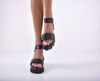 Дамски сандали  равни черни EOBUVKIBG