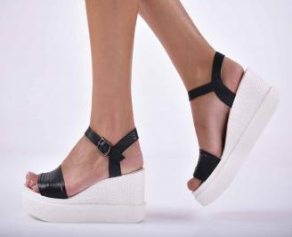 Дамски сандали равни естествена кожа черен  EOBUVKIBG