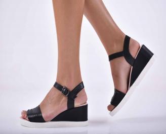 Дамски равни сандали естествена кожа черно  EOBUVKIBG