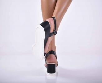 Дамски равни сандали естествена кожа черно  EOBUVKIBG 3