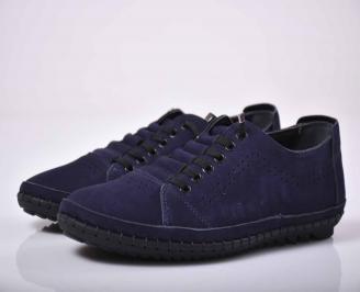 Мъжки спортно елегантни обувки естествен набук черни EOBUVKIBG