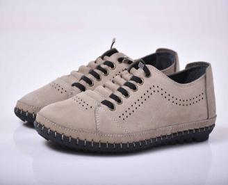 Мъжки спортно елегантни обувки естествен набук бежови EOBUVKIBG