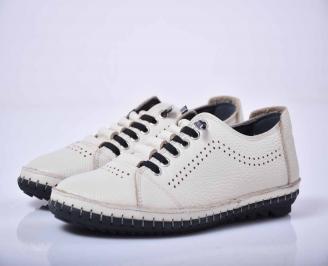 Мъжки спортно елегантни обувки естествена кожа бели EOBUVKIBG