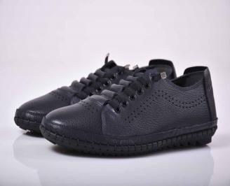 Мъжки спортно елегантни обувки естествена кожа черни EOBUVKIBG