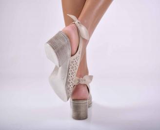 Дамски елегантни сандали естествена кожа бежови EOBUVKIBG 3