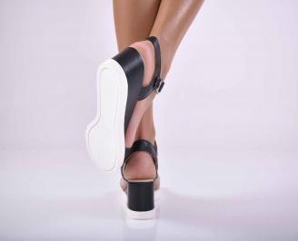 Дамски сандали на платформа естествена кожа черни EOBUVKIBG 3
