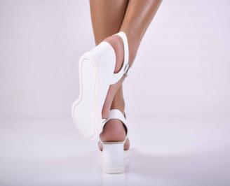 Дамски сандали на платформа естествена кожа бели EOBUVKIBG 3