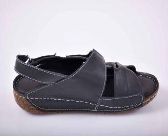 Дамски сандали Гигант естествена кожа черни EOBUVKIBG 3