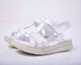 Дамски сандали гигант естествена кожа бели EOBUVKIBG